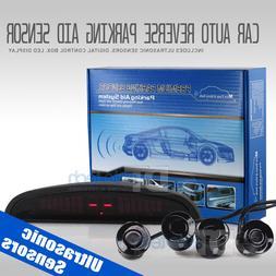 4 Parking Sensors LED Car Auto Backup Reverse Rear Radar Sys