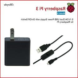 5.1V/3A Dual USB Power Supply with Switch for Raspberry Pi
