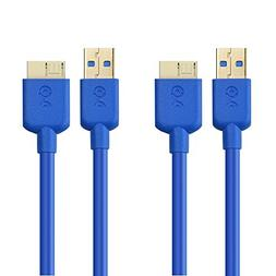 Cable Matters 2 Pack, SuperSpeed USB 3.0 Type A to Micro-B C