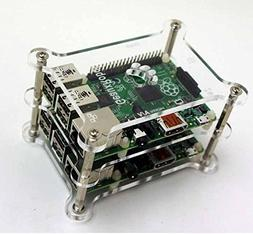 GeauxRobot Raspberry Pi 3 B 2-layer Dog Bone Stack Clear Cas