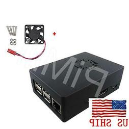 Black ABS Case Enclosure Box with Cooling Fan for Raspberry