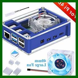 Case For Raspberry Pi 4 Model B 4B W Fan 40X40x10mm BLUE Bac
