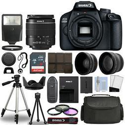 Canon EOS 4000D / Rebel T100 SLR Camera + 3 Lens Kit 18-55mm