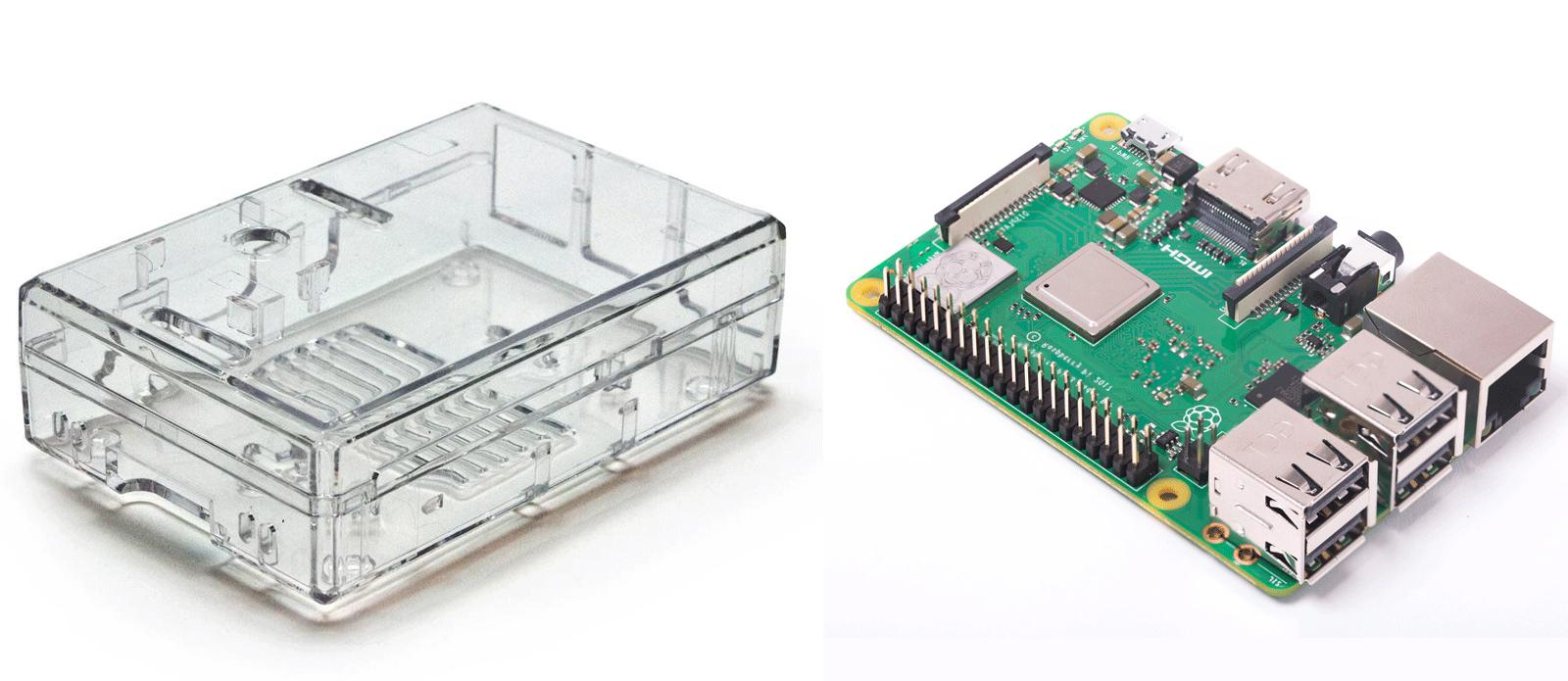 Raspberry Pi 3 Model B+ w/ Clear Case and internal camera mo