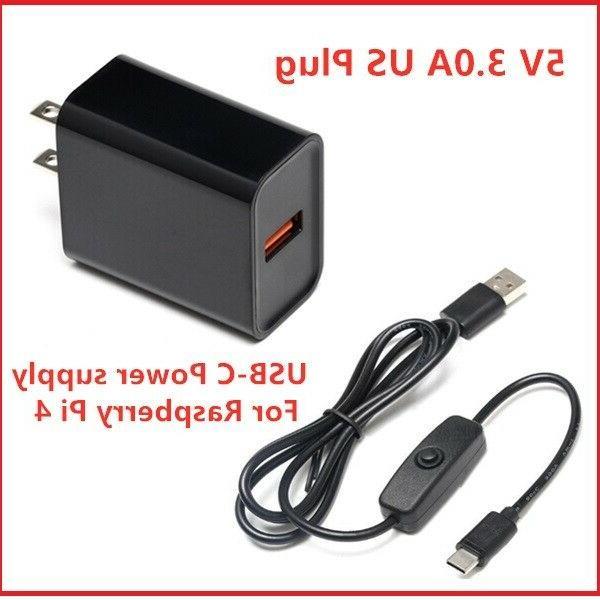 Raspberry Pi 4 Power Supply Adapter ON/OFF Switch USB-C 5V 3