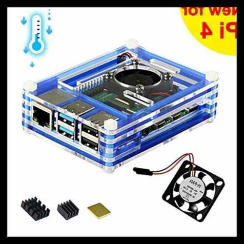 For Raspberry Pi 4 Case W Fan Heatsink BLUE FREE SHIPPING Co