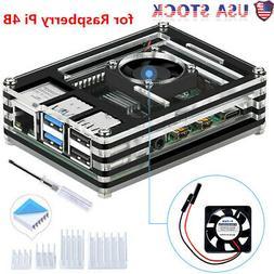 New Raspberry Pi Acrylic Case with Cooling Fan Heatsinks Kit
