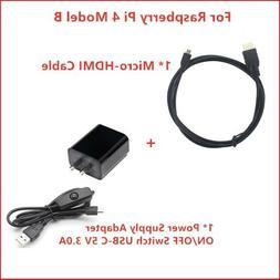 Raspberry Pi 4 Power Supply Adapter with Switch USB-C 5V 3.0