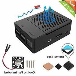iUniker Raspberry Pi 3 B+ Case, Raspberry Pi Fan ABS Case Wi