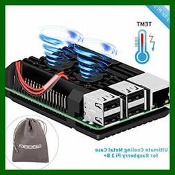 Raspberry Pi 3B+ Armor Case Aluminum Alloy W Cooling Fan Dua