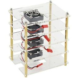 For Raspberry Pi 4 Layers Acrylic Case Holder Box+Cooling Fa