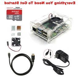 Raspberry Pi 4 Model B Starter Kit Power Supply Acrylic Case