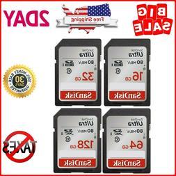SanDisk Ultra 16GB 32GB 64GB 128GB SD Card Class10 80MB/s Me